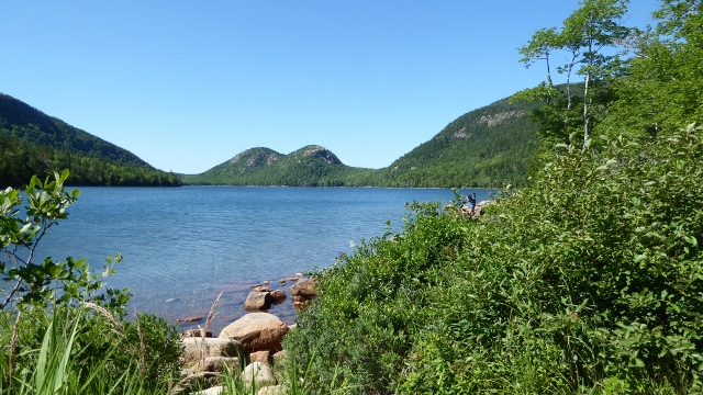 "Jordan Pond and ""The Bubbles"" across the way."