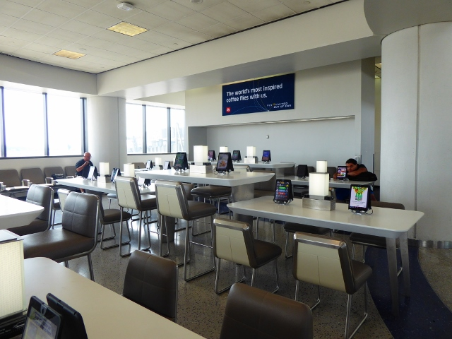 Each table has a charging station and usb ports for 4 to 6 people.