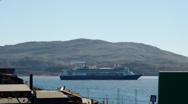 MS Rotterdam preparing to depart Qaqortoq, Greenland