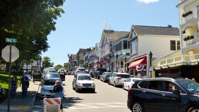 Looking up Main Street in Bar Harbor.