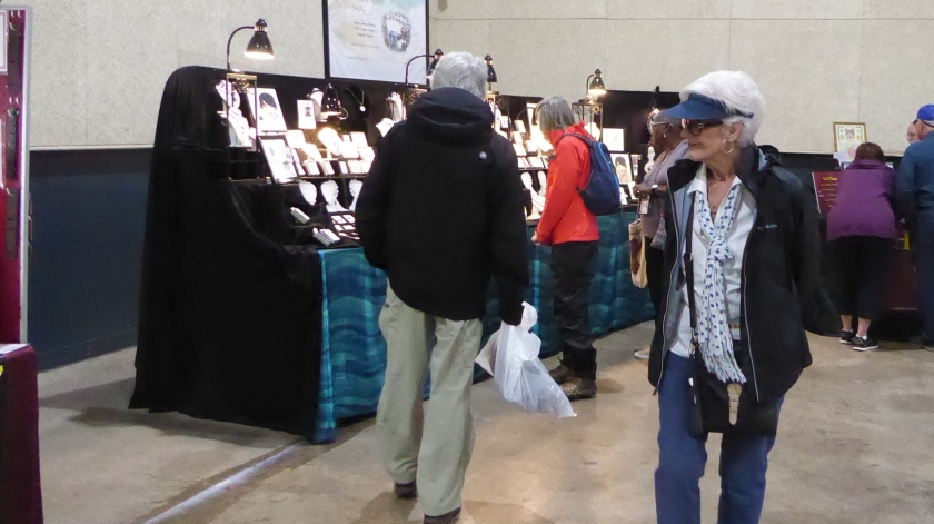 Shopping the market at Jean Harris Cruise Terminal.