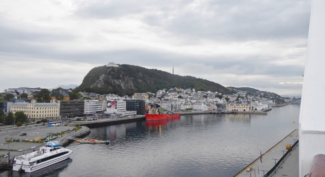 Docked in Alesund with a view of Mount Aksla.