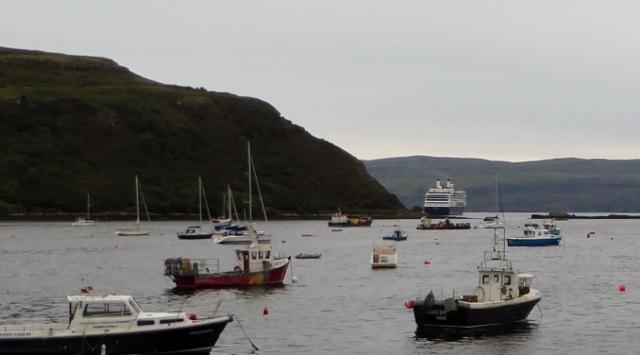 The MS Rotterdam at anchor.