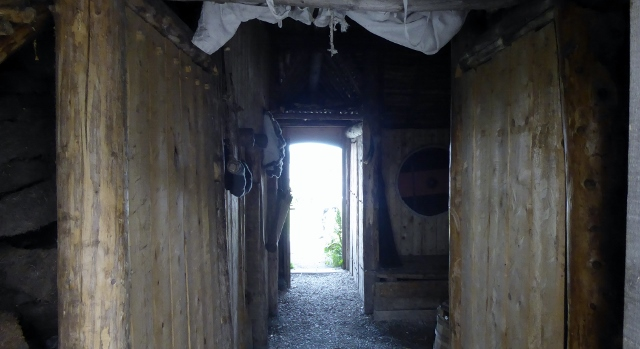 Inside a sod house.