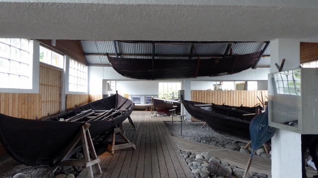 The boat hall at Sunnmore has several Viking boats.