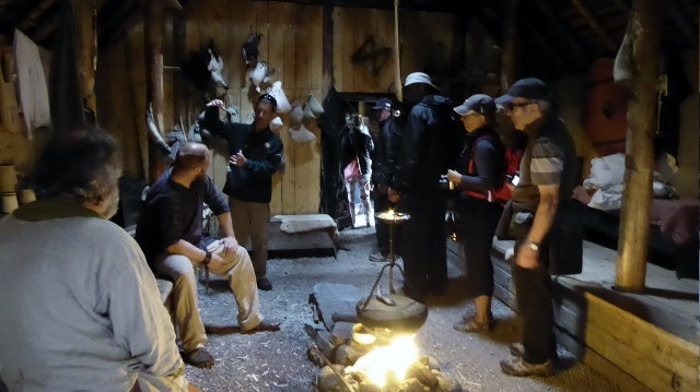 A communal room with fire.