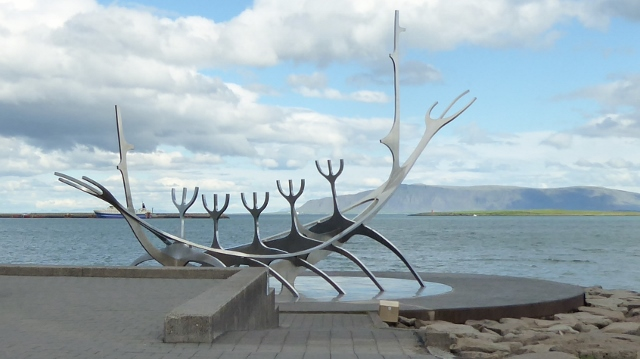 "The sculpture ""Sun Voyager"" on the Reykjavik waterfront."