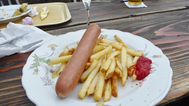 The sausage and french fries were quite good.