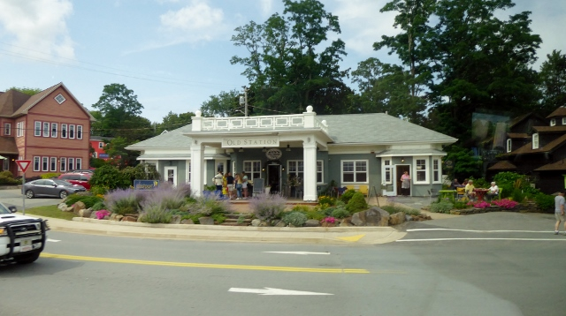 The old railroad station is now a smallshopping complex.