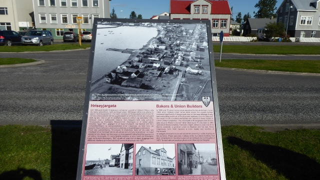 A little bit of history is presented on sign boards as we walk into town.