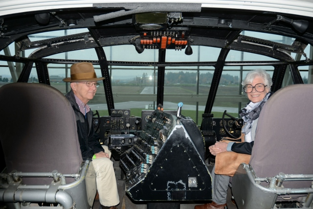 Here we are, at the controls of the Spruce Goose!
