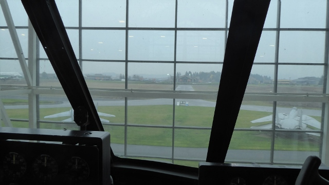 View from the cockpit of the Spruce Goose.