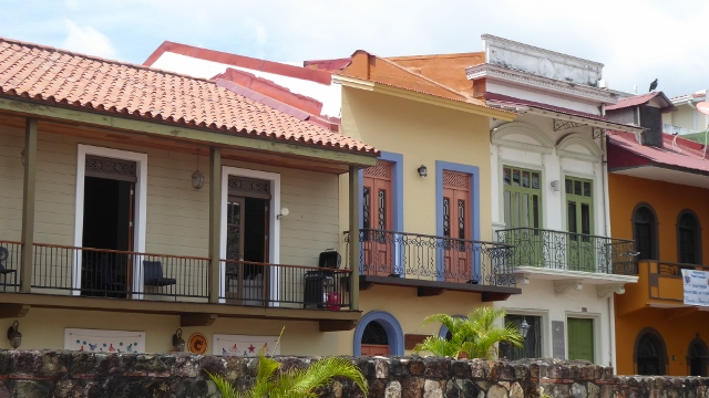 Colorful old Panama with the extremely picturesque balconies.