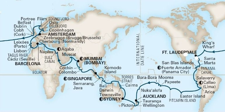 2019 HAL World Cruise Itinerary