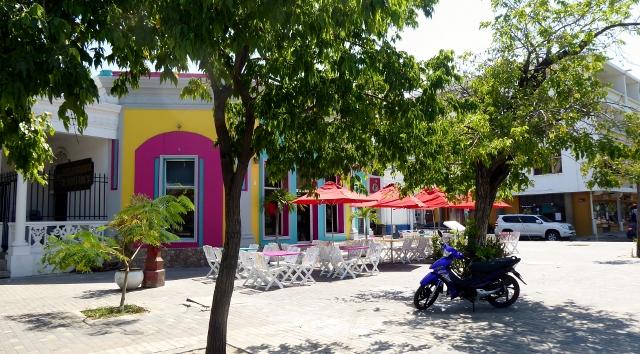 A coloful cafe along the esplanade