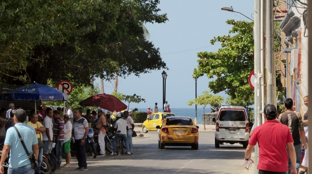 The streets of Santa Marta are crowded and busy.