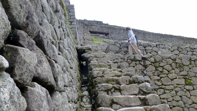 There are steep steps at Machu Picchu--a challenge considering the altitude.
