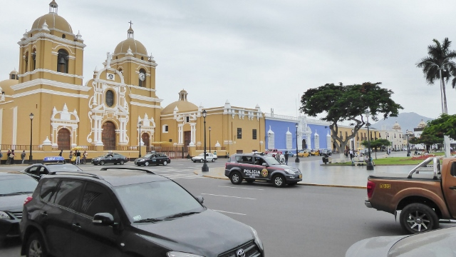 The Cathedral of Trujillo.  The blue buildng next door is the Cathedral Museum.