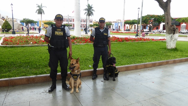 The local police protecting the tourists along with their K-9 companions.