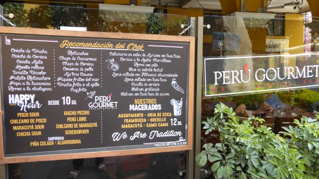 We stopped for a drink at The Peru Gourmet Restaurant.