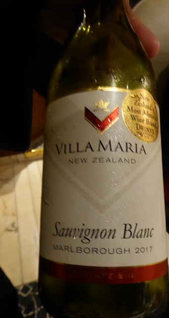 The first wine was Villa Maria Sauvignon Blanc from the Marlborough area.