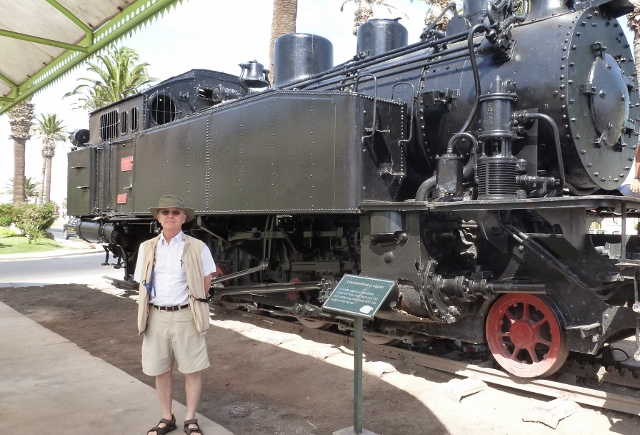 There's an old steam locomotive in front of the Customs House.  (2014 photo)