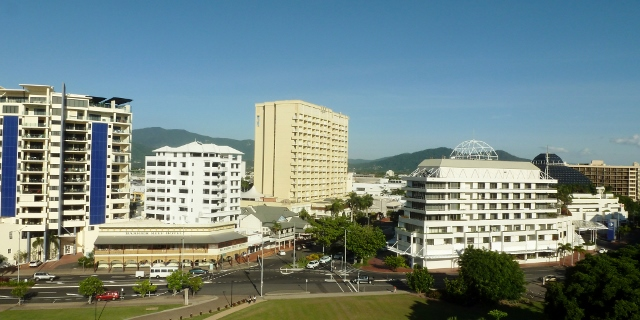 A view of Cairns from the ship in 2016.  That's the Casino on the right.