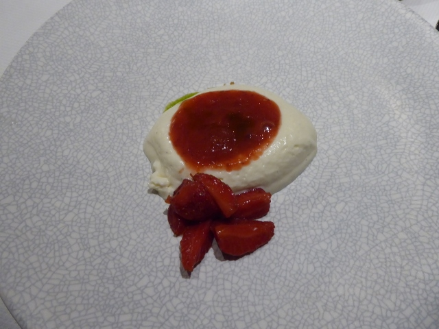 Dessert was a deconstructed Strawberry Cheesecake.