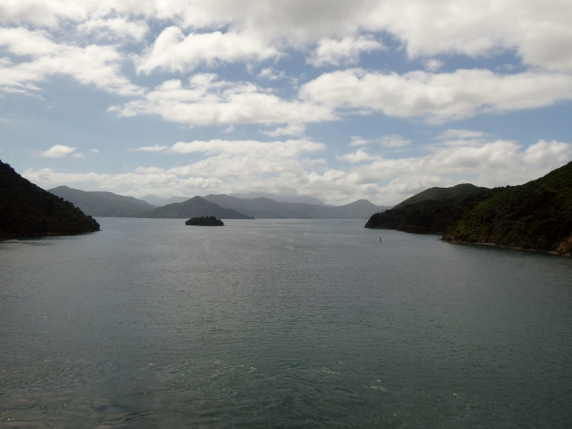 We make our way through the Marlborough Sound on our way to the Tasman Sea.