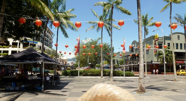 Downtown Cairns.  That's an open-air market on the left.