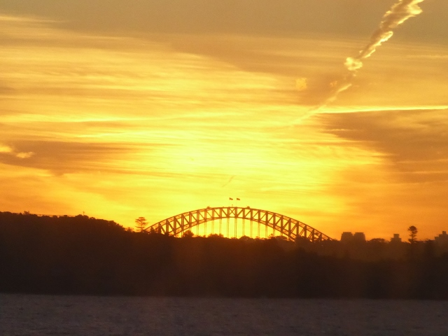 Our final view of Sydney way of the Harbor Bidge at Sunset.