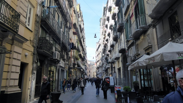 This is the pedestrian shopping street, Via Chiaia.