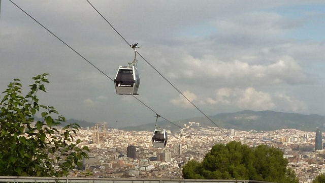 A view of the cable car to Montjuic taken in 2011 on another sunny day.
