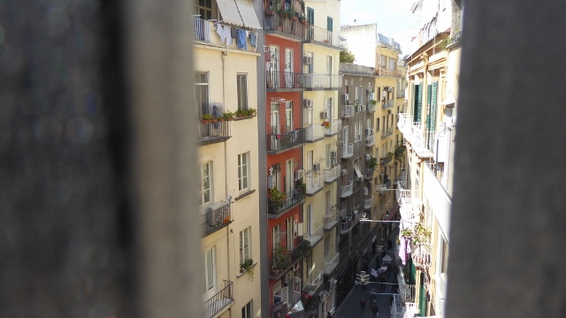 Looking down on Via Chiaia from the Ponte di Chiiaia.