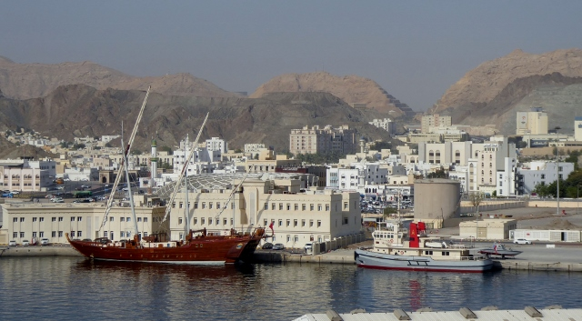 This is the view of Muttrah from the dock.