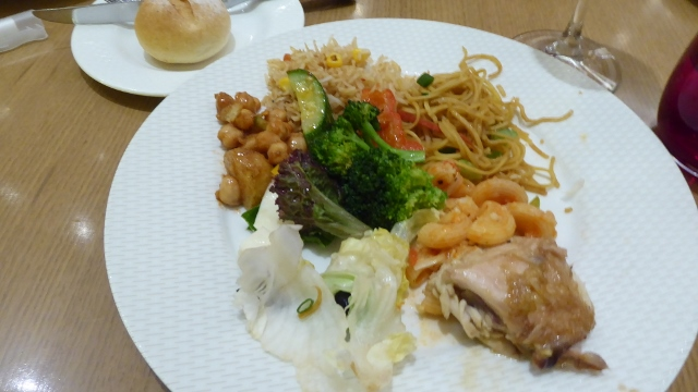 Chicken, pasta, noodles, rice, and vegies.  Very good!