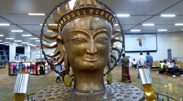 Surya, the Sun God, Sculpture on display in the New Delhi Airport.