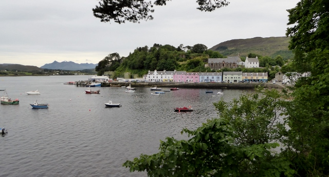 This is the Portree harbor.  You can see a tender on the dock at the far left.
