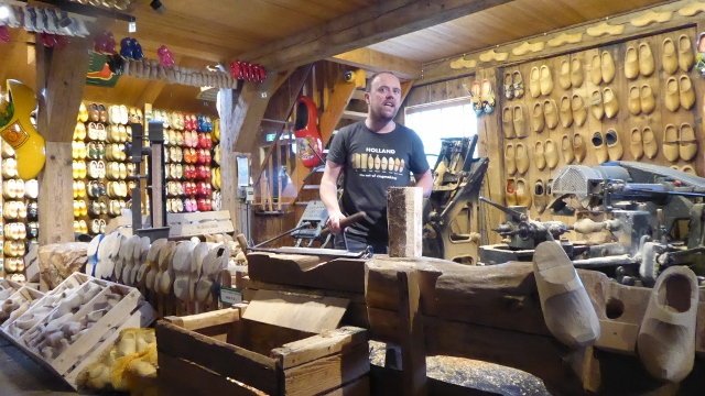 We saw how wooden shoes were once made by hand.