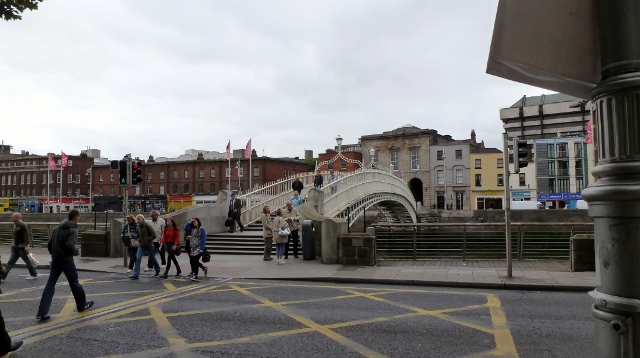 Ha'penny Bridge over the Liffey and leading to the Temple Bar area.
