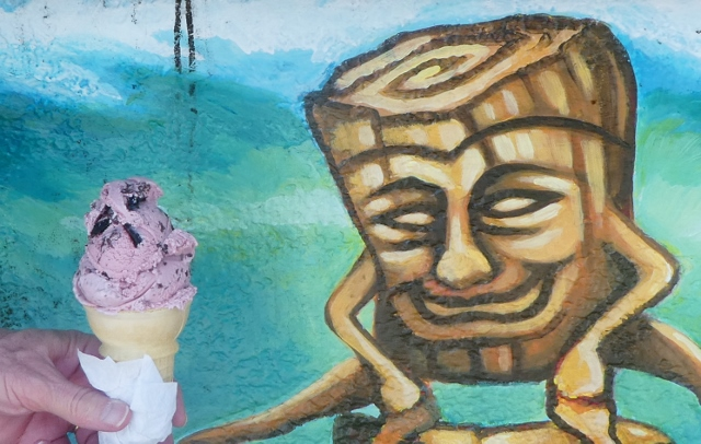 Roger thoroughly enjoyed his single scoop of Cherry Oblivion!