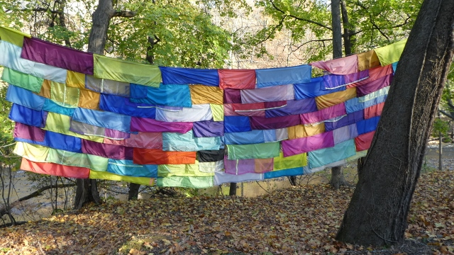 Rachel Hayes produces bright-colored textile installations.