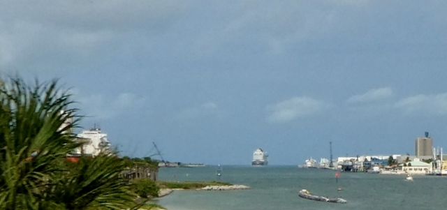 We did see cargo ships loading and sailing out.