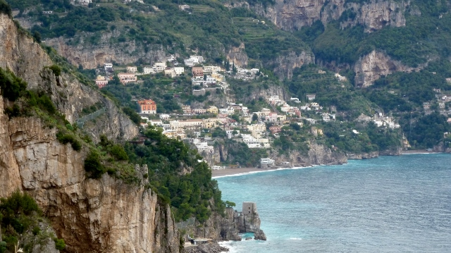 Positano as seen from the road approaching town.