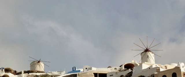 The windmills in Santorini.